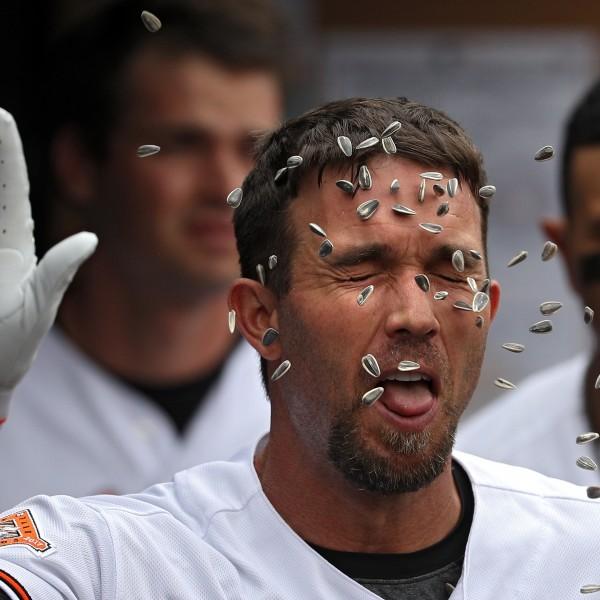 BALTIMORE, MD - 24. Mai: Als J.J. Hardy von den Baltimore Oriols einen erfolgreichen Home-Run feiert, wird er von Fans mit Sonnenblumenkernen beschossen (Credit: Getty Images)