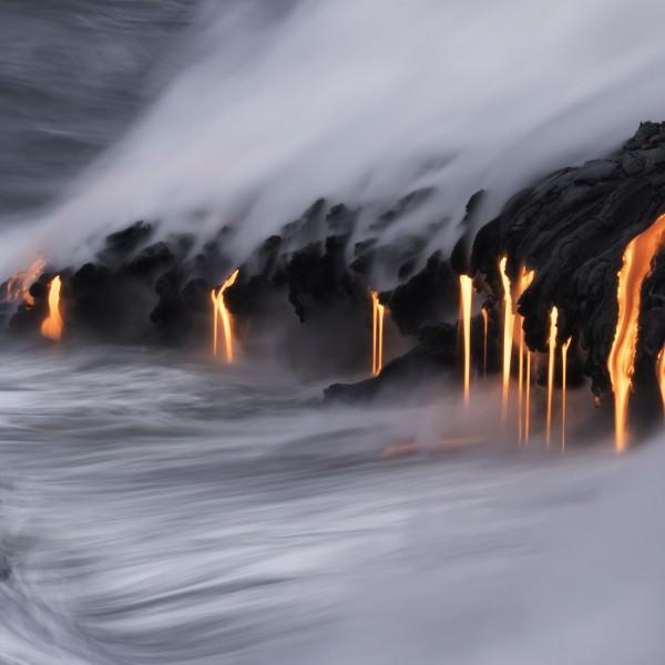 Lava entering the Pacific Ocean on Kilauea, Big Island, Hawaii. (Getty Images)