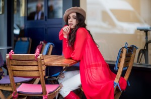 LONDON, ENGLAND - OCTOBER 18: Camila Cabello wearing red kimono Ulyana Sergeenko, white pants, brown beret, red Stuart Weitzman boots is seen on October 18, 2017 in London, England. (Photo by Christian Vierig/Getty Images)